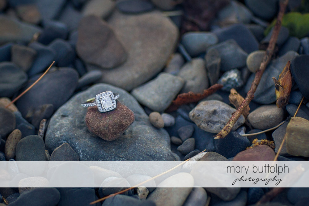 Woman's engagement ring sits on a stone at Lourdes Camp Engagement