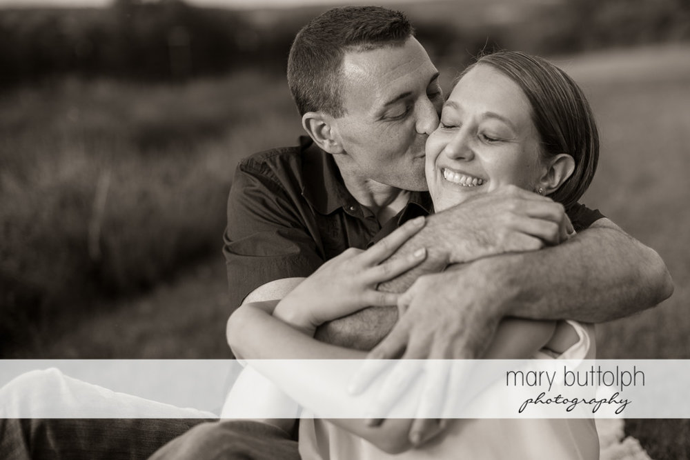 Couple in a romantic mood in the field at Lockwood Lavender Farm Engagement