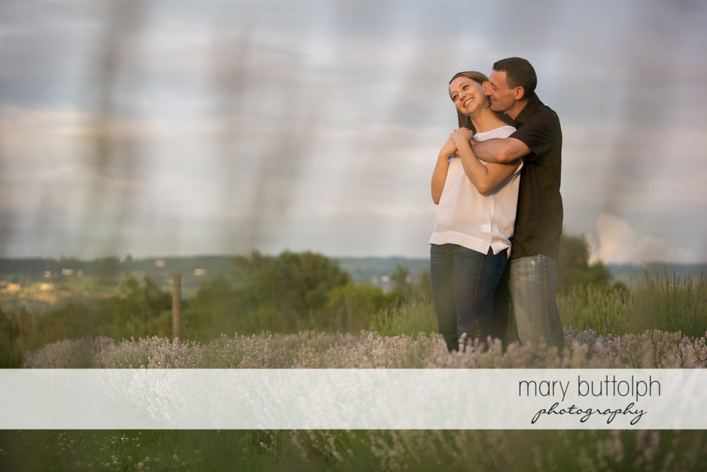 Couple spend quality time in the field at Lockwood Lavender Farm Engagement