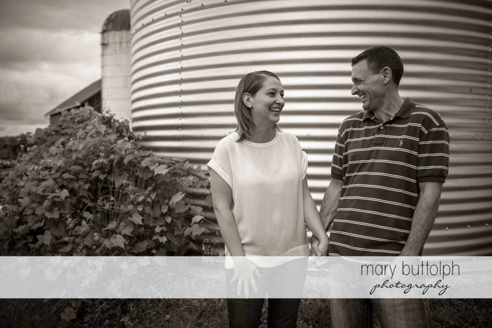 Couple stand near a barn at Lockwood Lavender Farm Engagement