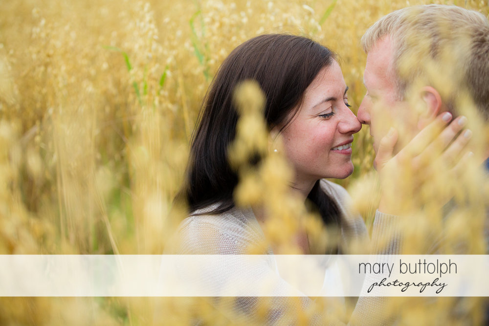 Couple in a romantic mood in the field at Skaneateles Farm Engagement