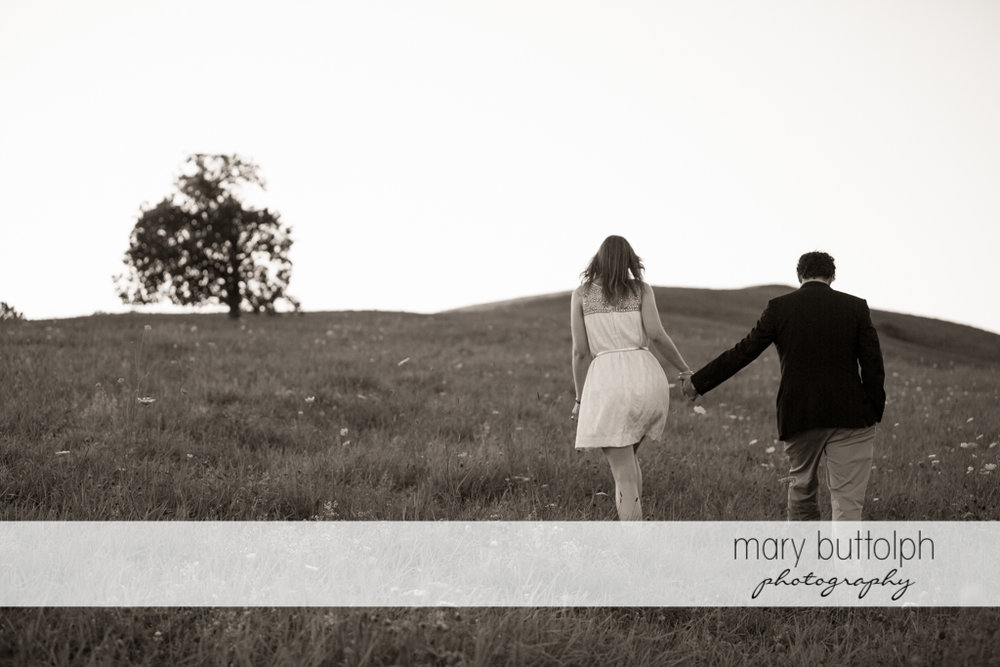 Couple hold hands while crossing the field at Skaneateles Engagement