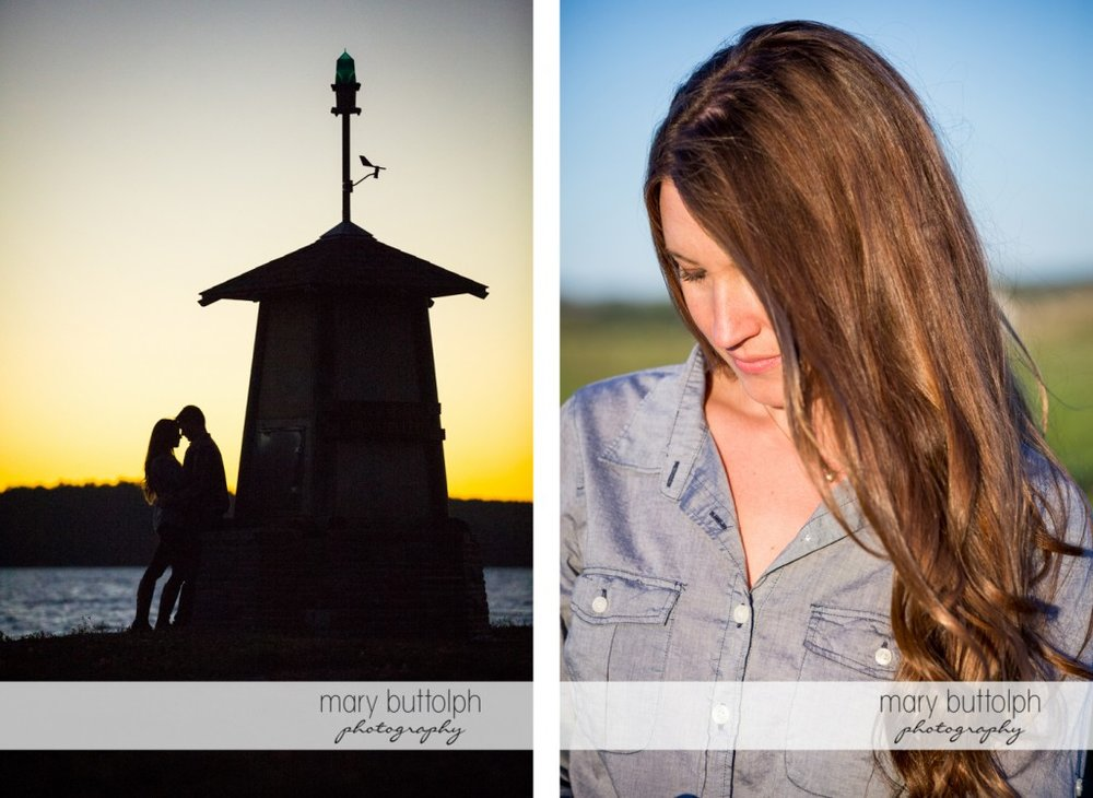 Couple catch the sunset near the lake and woman poses alone at Aurora Engagement