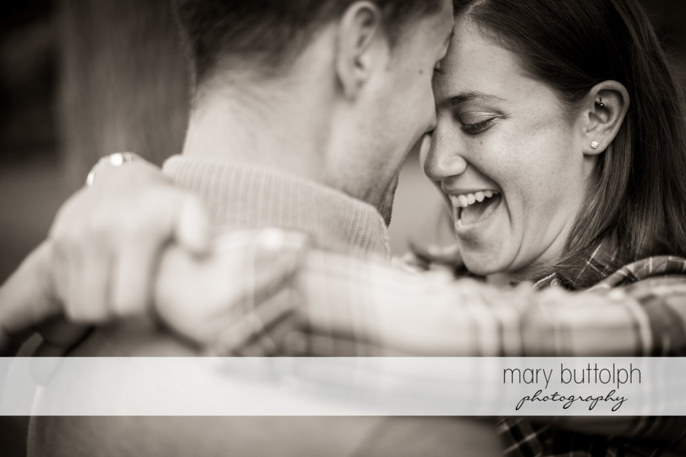 Close up shot of couple in a happy mood at Syracuse University Engagement