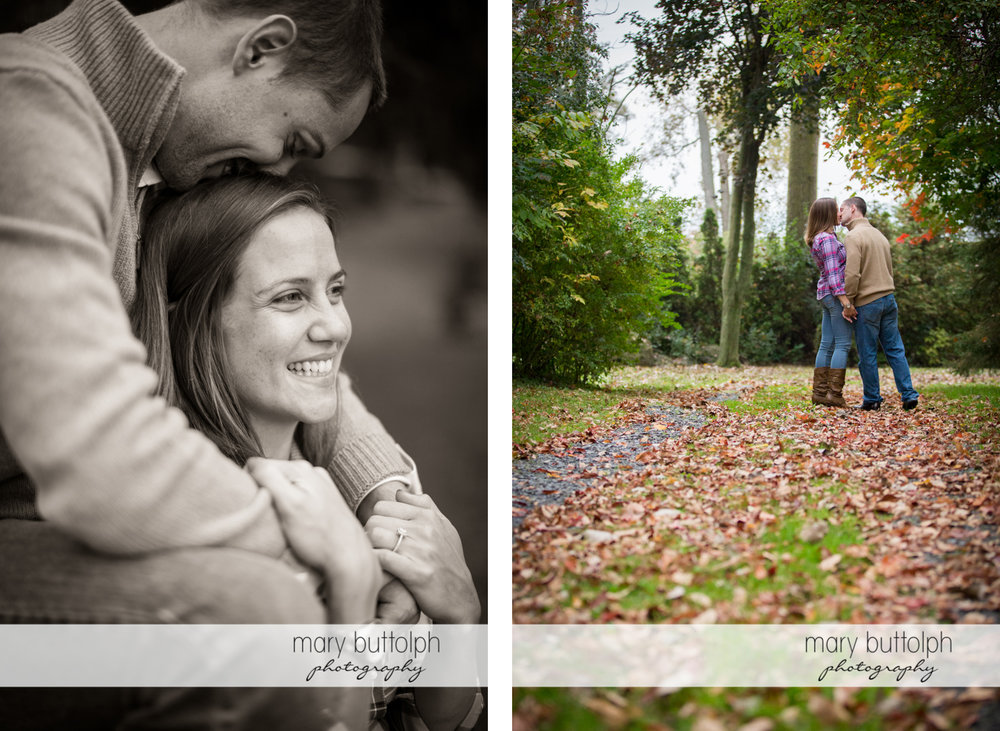 Close up shot of the couple who kiss in the woods at Syracuse University Engagement