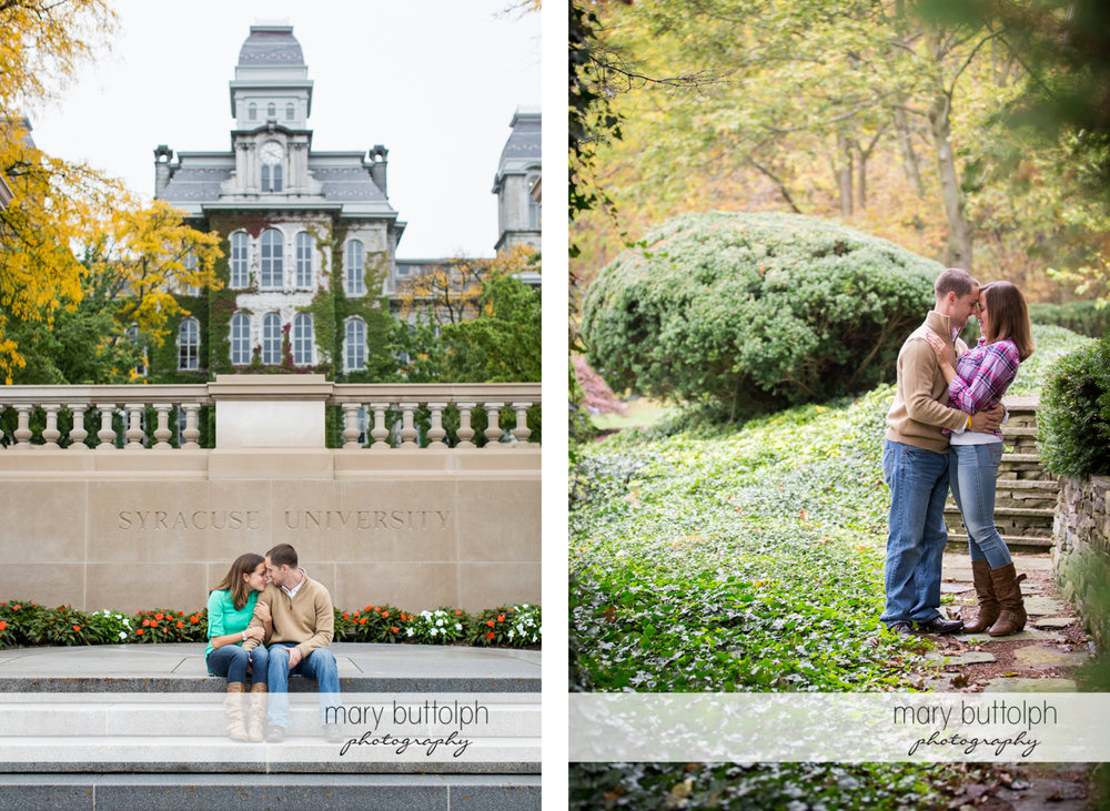 Couple sit in front of a building and embrace in the garden at Syracuse University Engagement