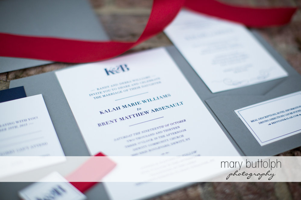 Couple's wedding invitation at Traditions at the Links Wedding