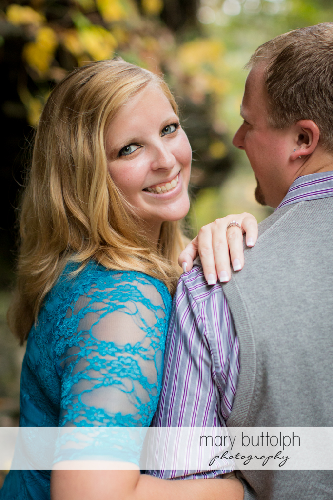 Woman faces the camera at Watkins Glen Engagement