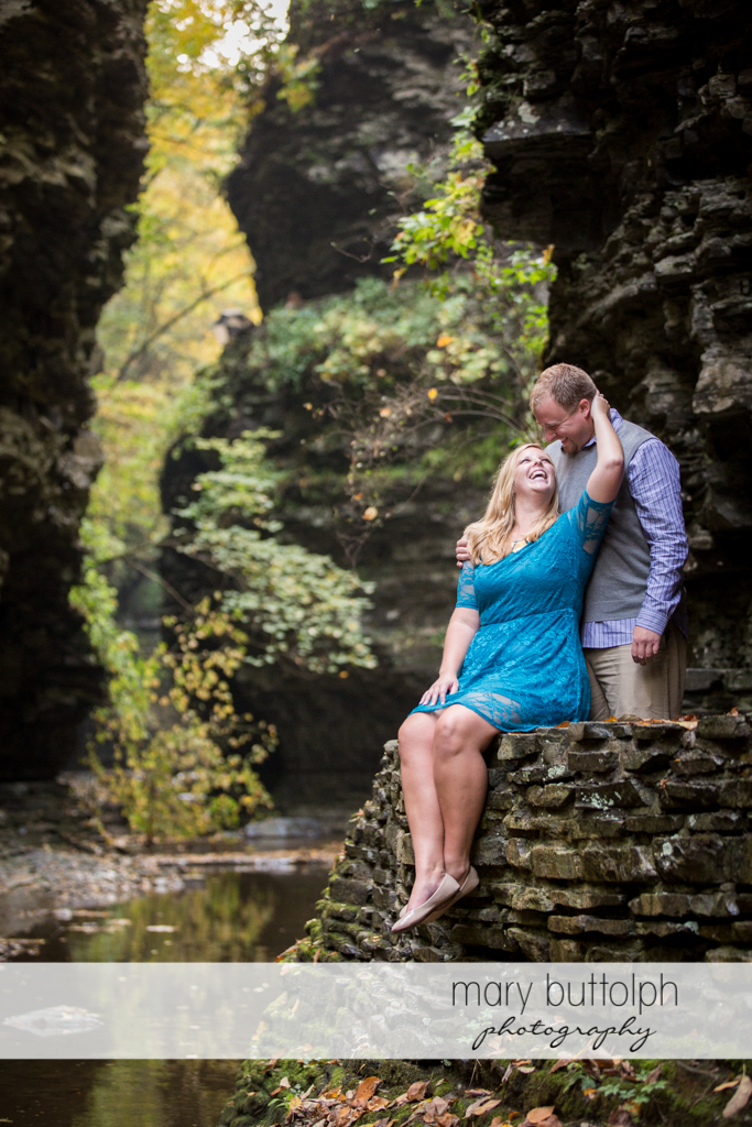 Couple pose on the gorge at Watkins Glen Engagement