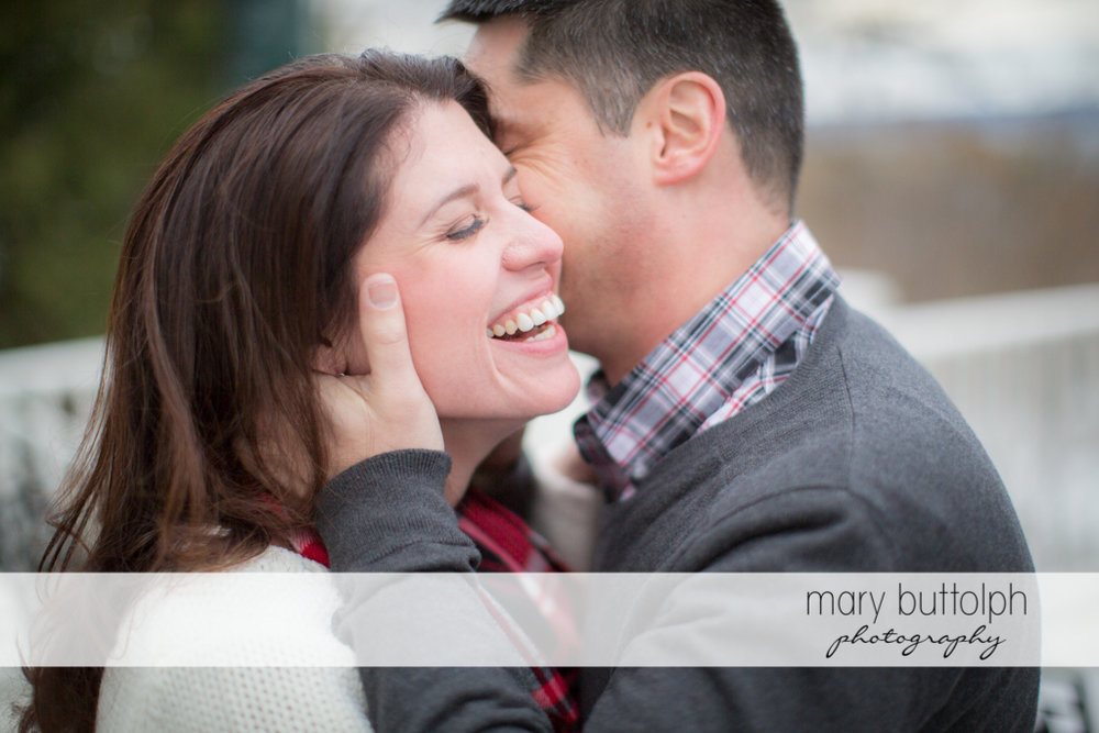 Couple express their love for each other at the Aurora Inn Engagement