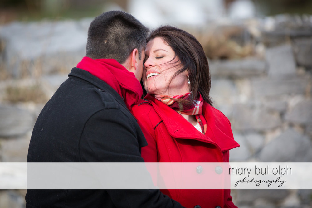 Couple in a romantic pose at the Aurora Inn Engagement