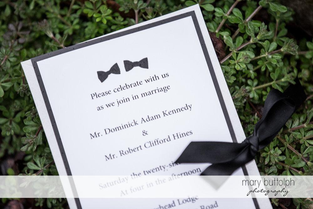 Same sex couple's wedding invitation at Arrowhead Lodge Wedding