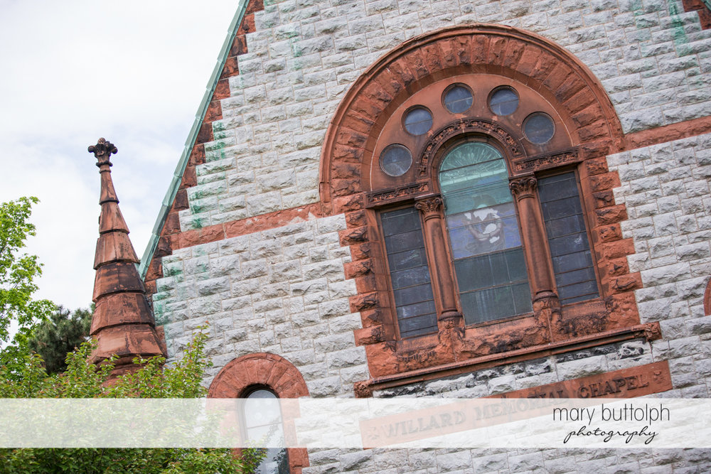 The facade of the church at the Inns of Aurora Wedding