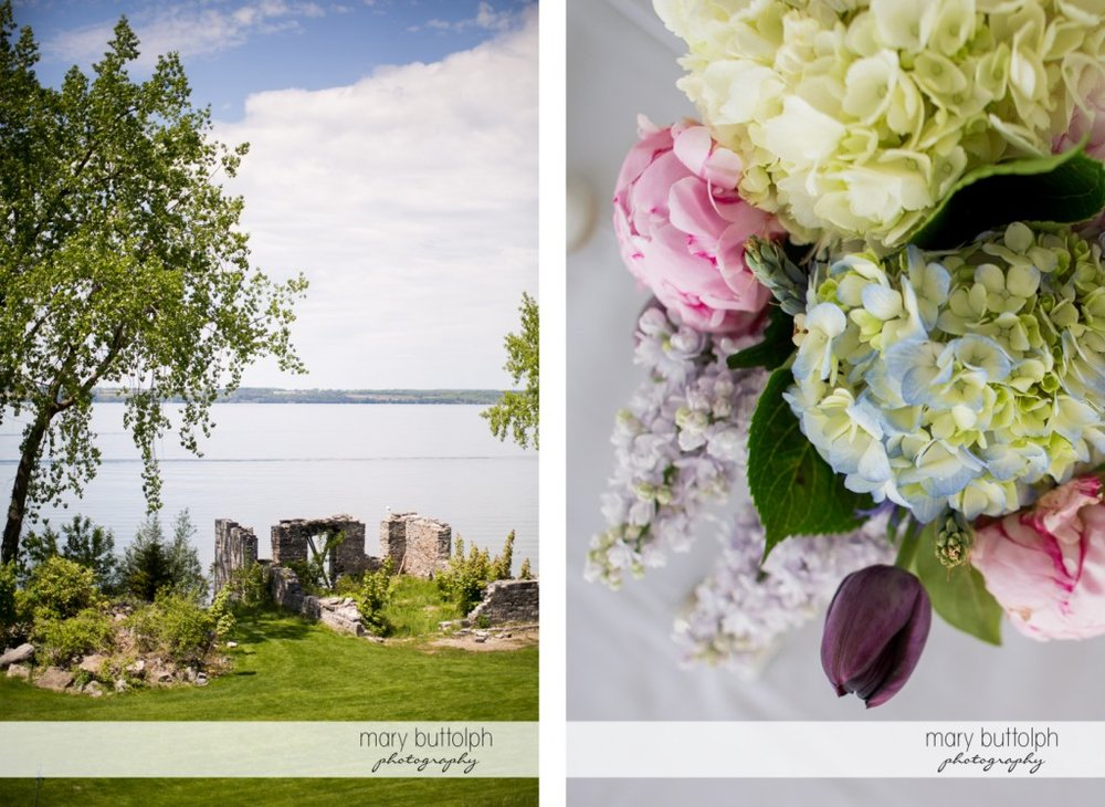The ruins by the lake and a close up shot of flowers at the Inns of Aurora Wedding