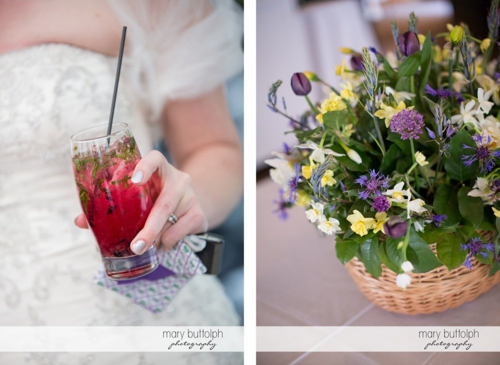 Cool pink drink and flowers at the wedding venue at the Inns of Aurora Wedding