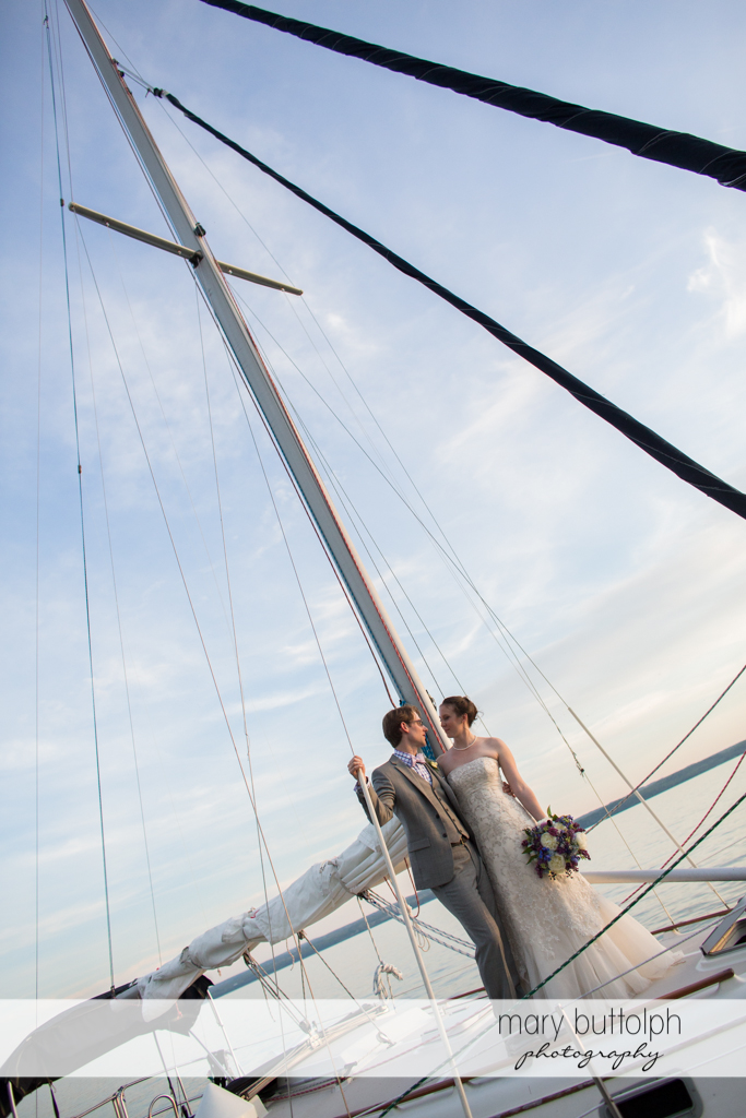 Couple on a sailboat at the Inns of Aurora Wedding