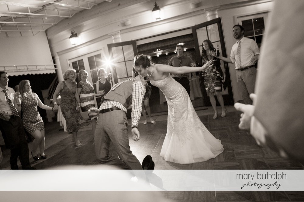 Couple dominate the dance floor at the Inns of Aurora Wedding
