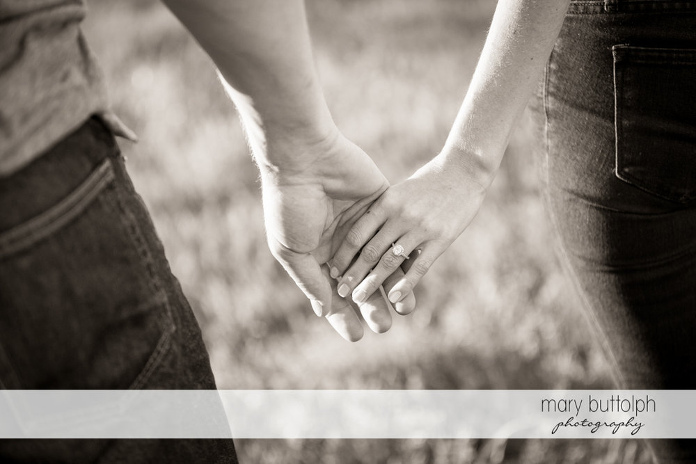 Couple hold hands while the woman's engagement ring is visible at Skaneateles Engagement