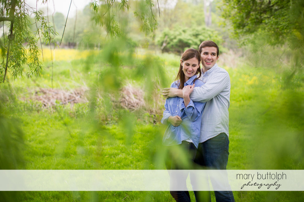 Couple pose in the garden at the Hamilton Inn Engagement