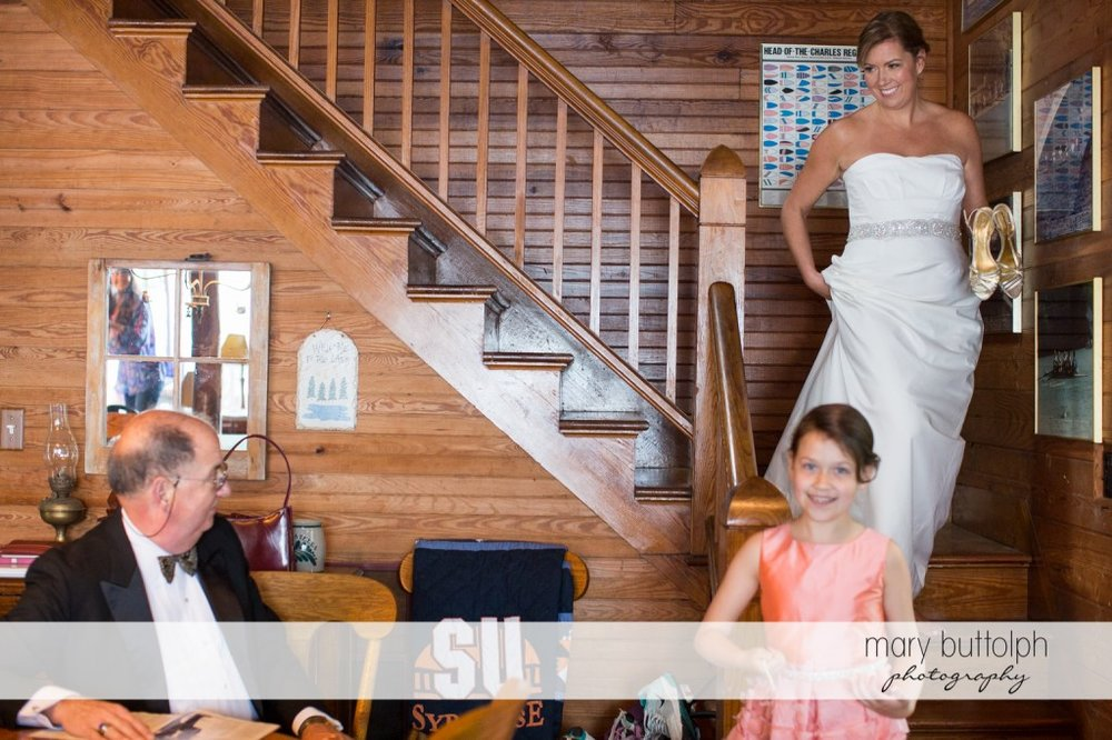 Bride and young girl ready for the wedding at Skaneateles Country Club Wedding