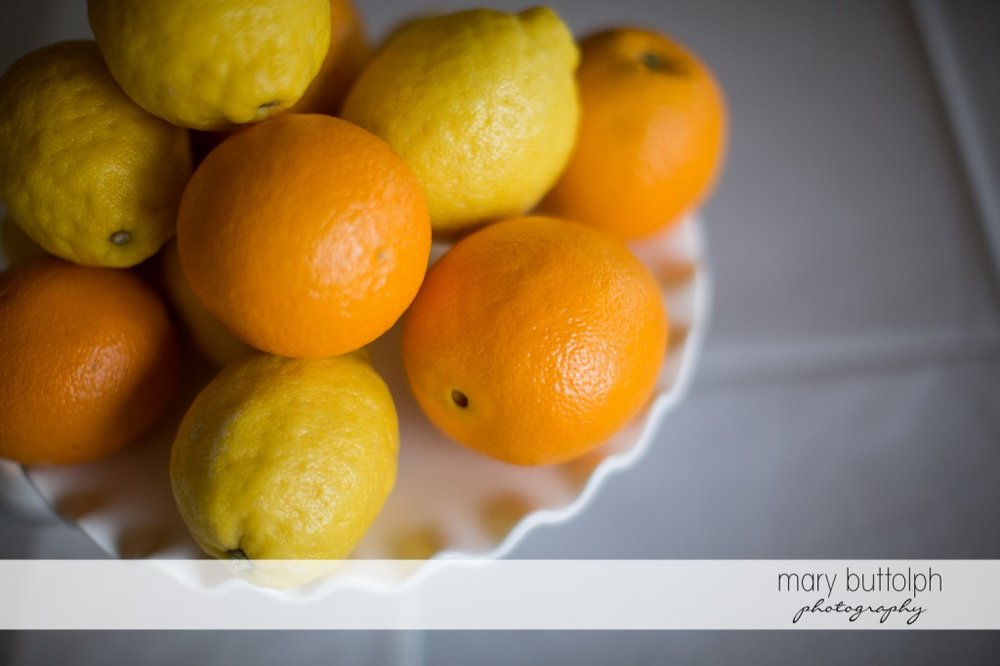 Lemons and oranges at the wedding venue at Skaneateles Country Club Wedding
