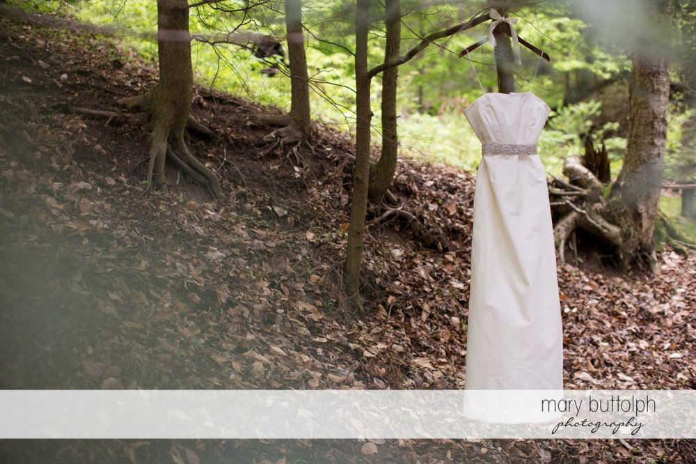 Bride's wedding dress in the woods at Skaneateles Country Club Wedding