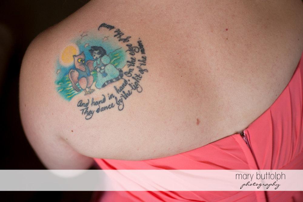 Bridesmaid's cute tattoo at the Inns of Aurora Wedding