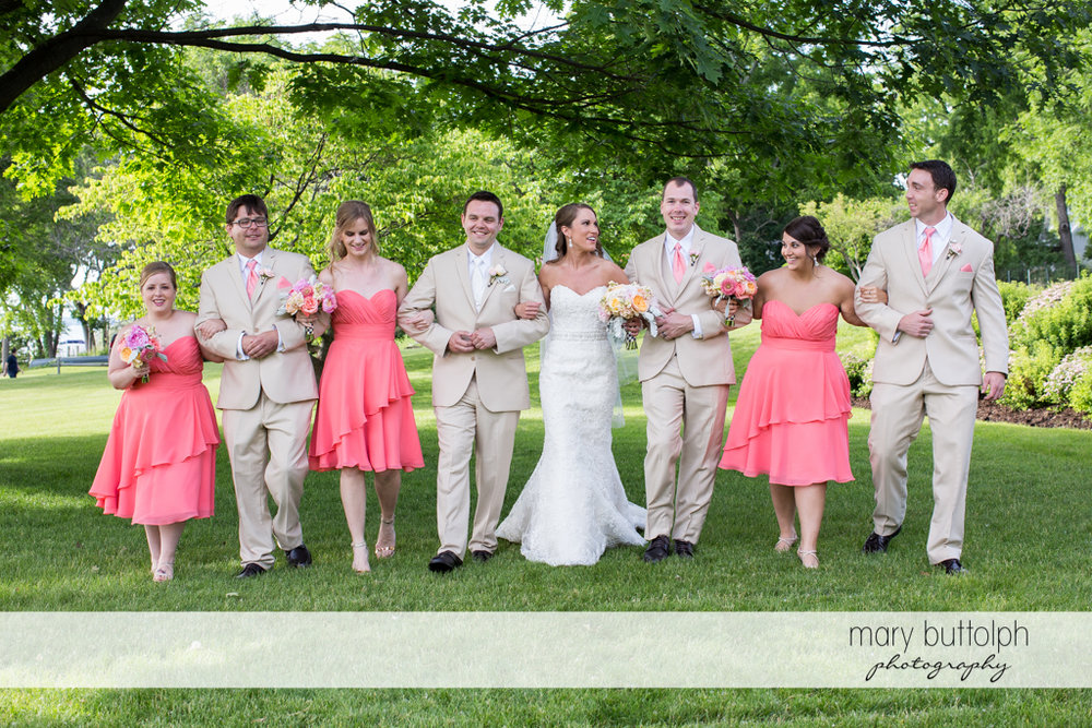 The wedding party in the garden at the Inns of Aurora Wedding