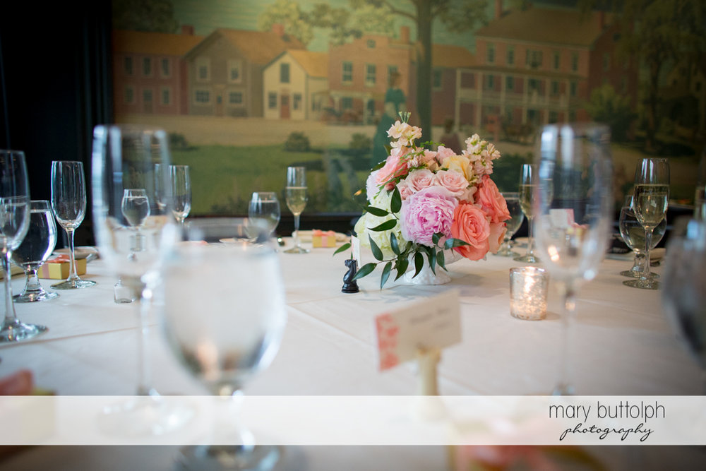 Flowers on the table at the Inns of Aurora Wedding