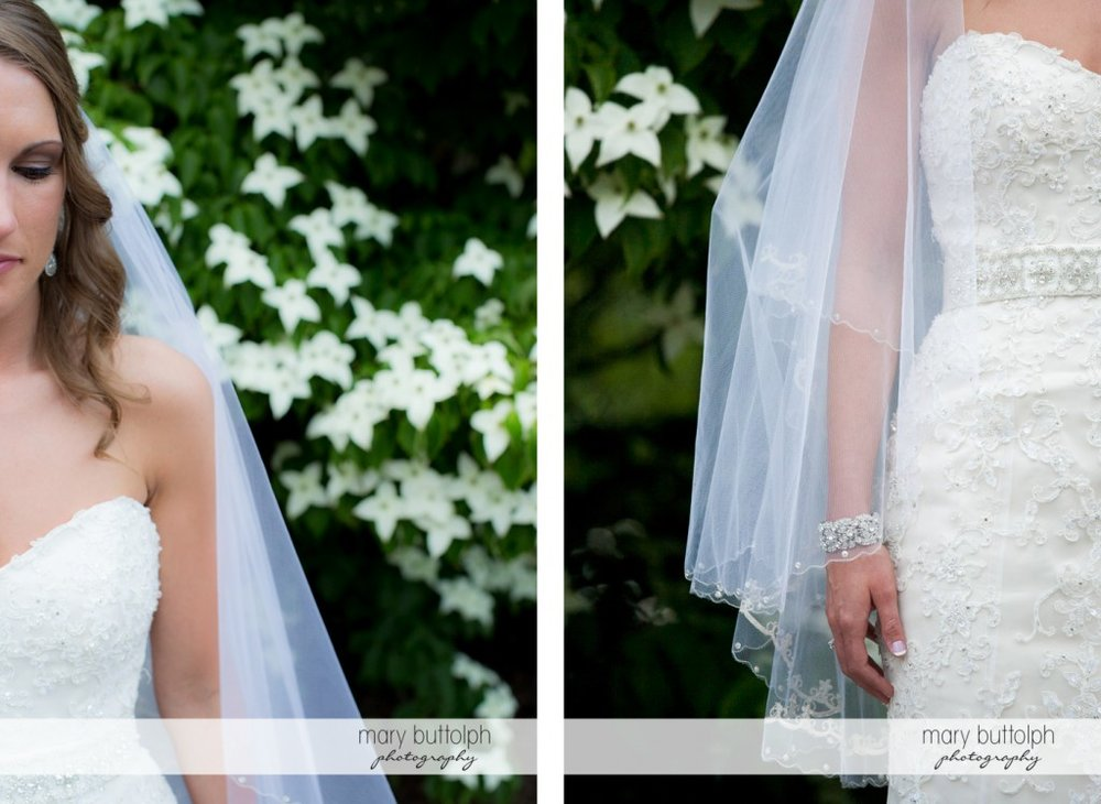 Two shots of the bride in the garden at the Inns of Aurora Wedding