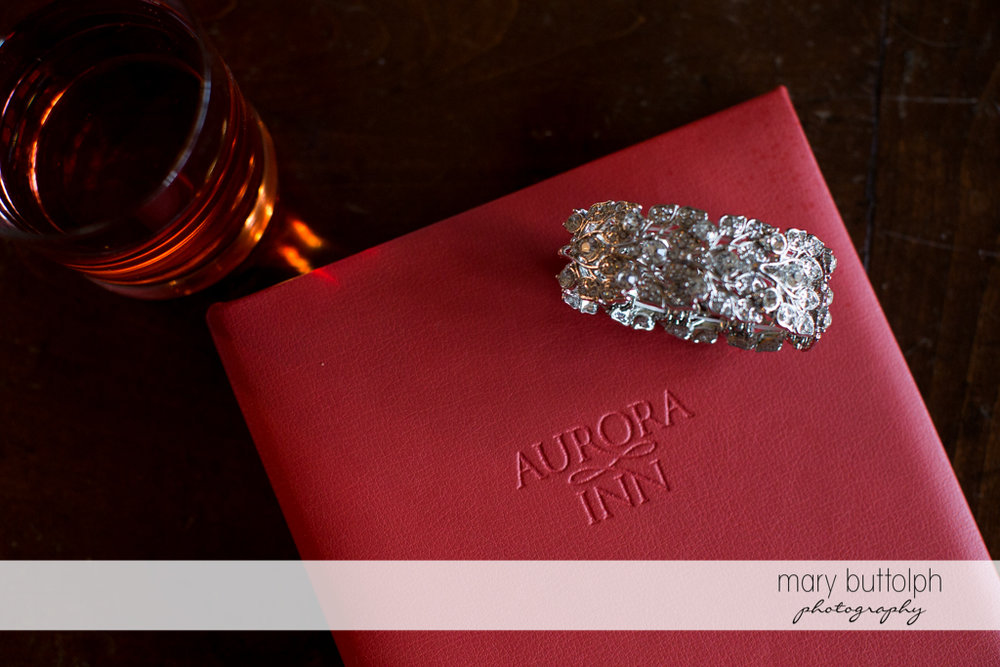 Close up shot of bride's wedding ring at the Inns of Aurora Wedding
