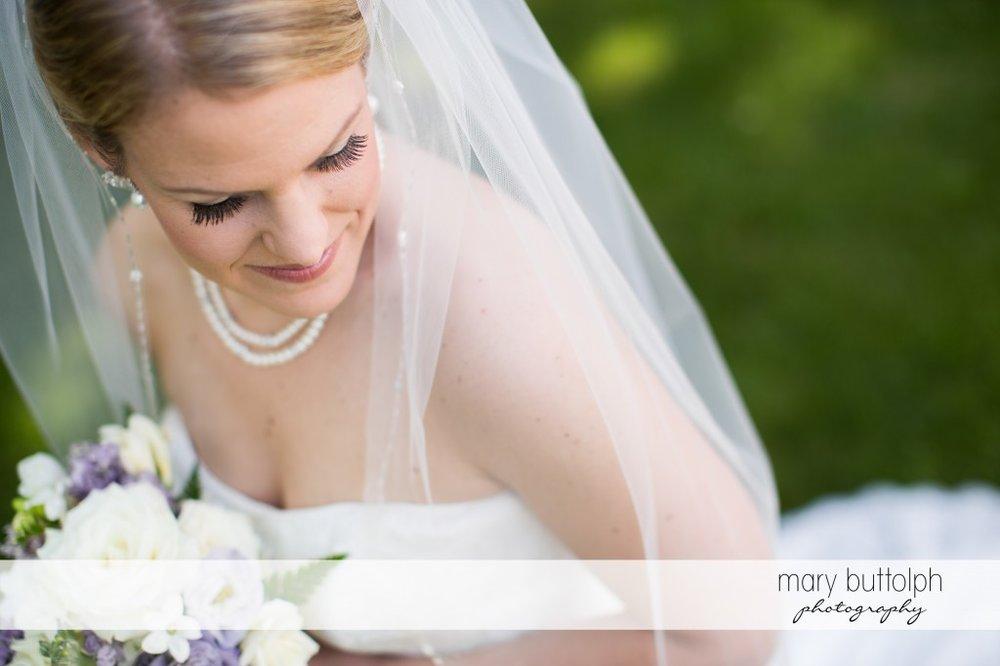 Happy bride in the garden at Emerson Park Pavilion Wedding