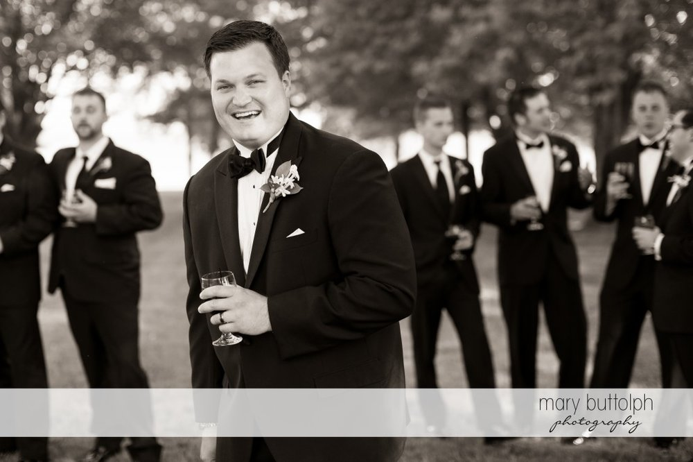 Groom and his groomsmen in the garden at Emerson Park Pavilion Wedding