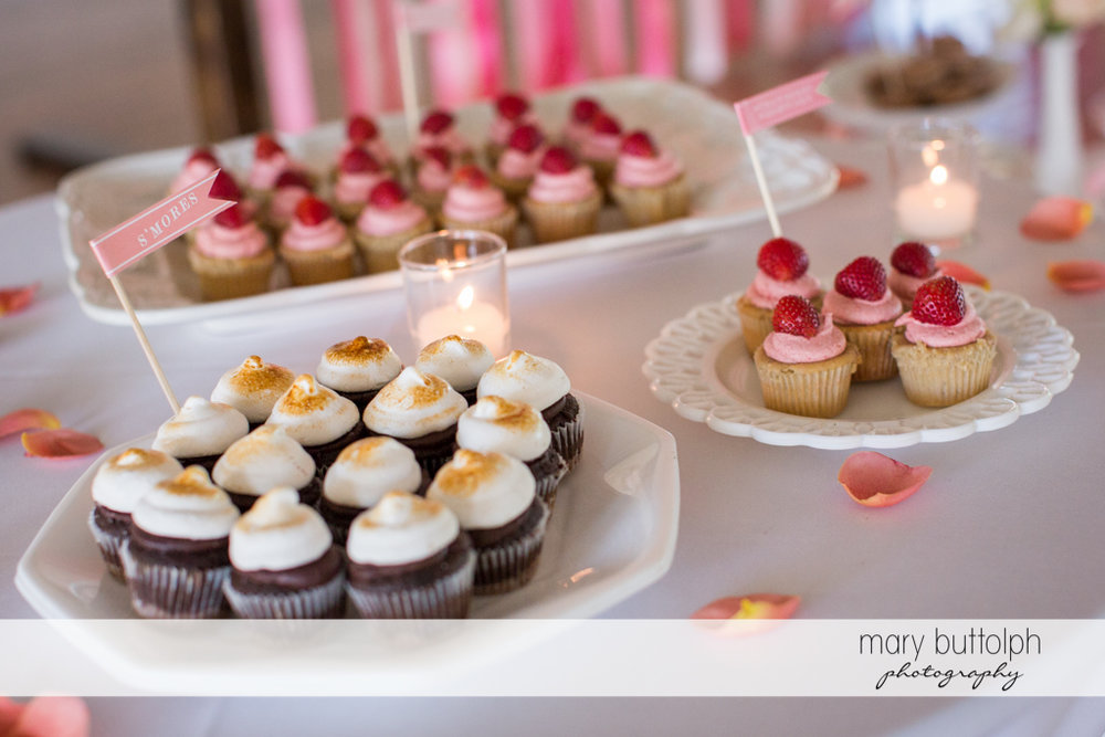 Delicious cupcakes at the wedding venue at Emerson Park Pavilion Wedding