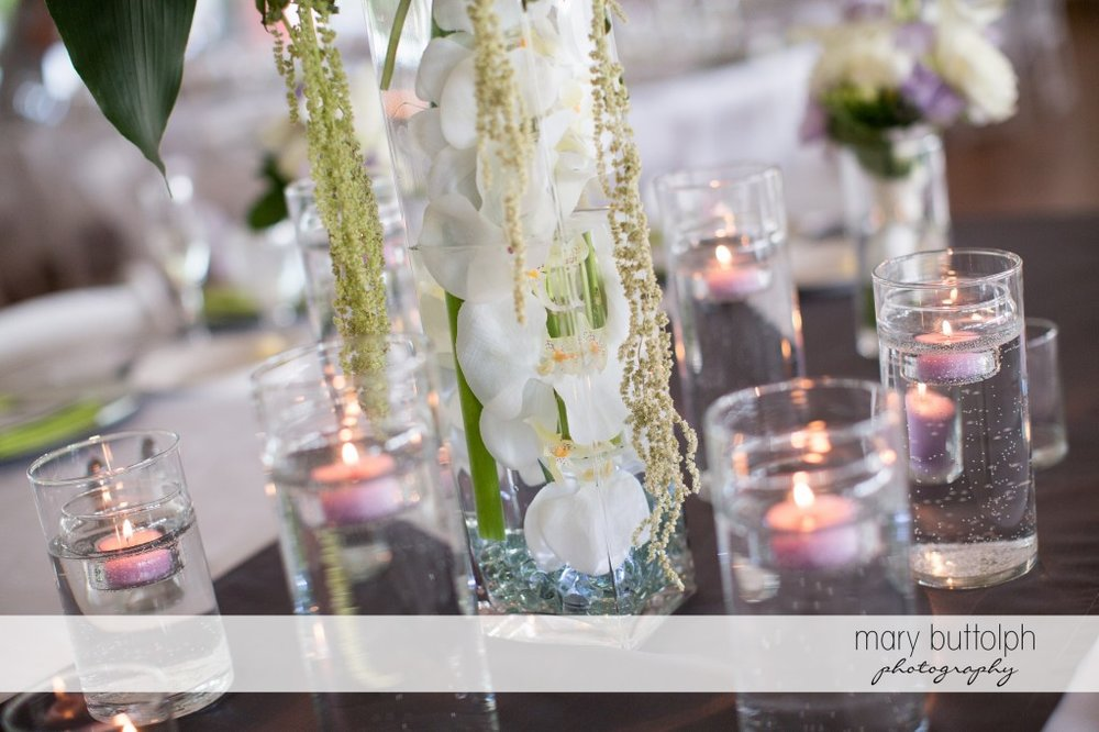 Candles and flowers add life to the wedding venue at Emerson Park Pavilion Wedding