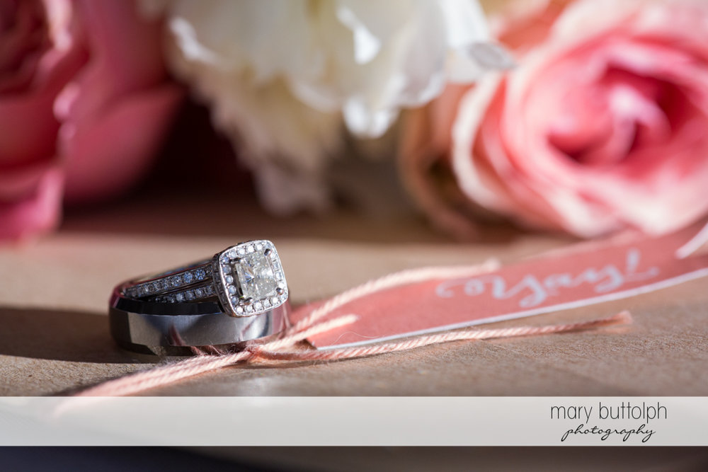 Close up shot of the couple's wedding rings at Emerson Park Pavilion Wedding