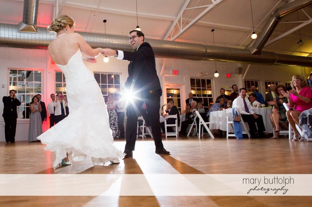 Bride and guest have fun on the dance floor at Emerson Park Pavilion Wedding
