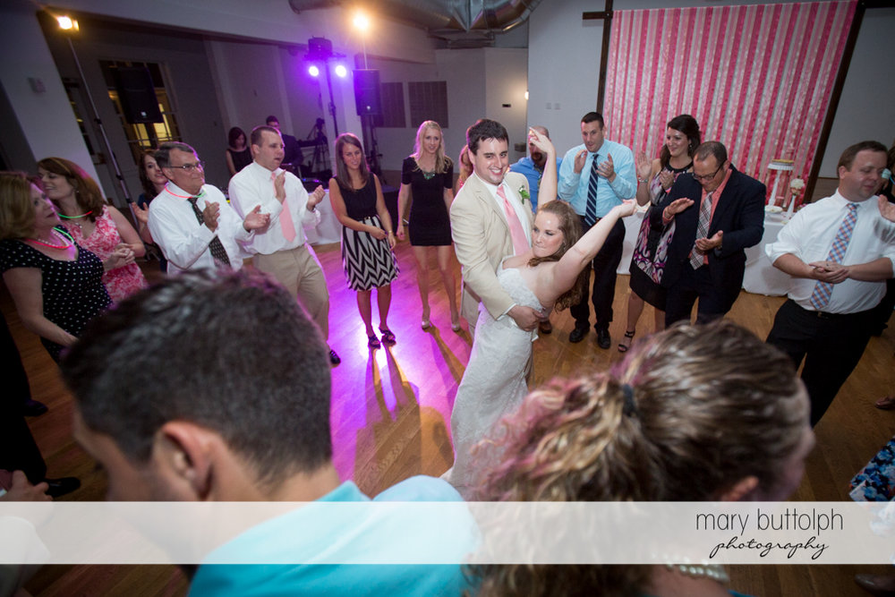 Couple dominate the dance floor at the wedding venue at Emerson Park Pavilion Wedding