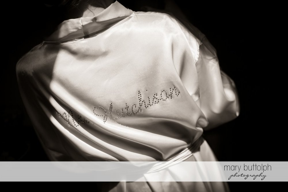 Bride's personalized robe at Emerson Park Pavilion Wedding