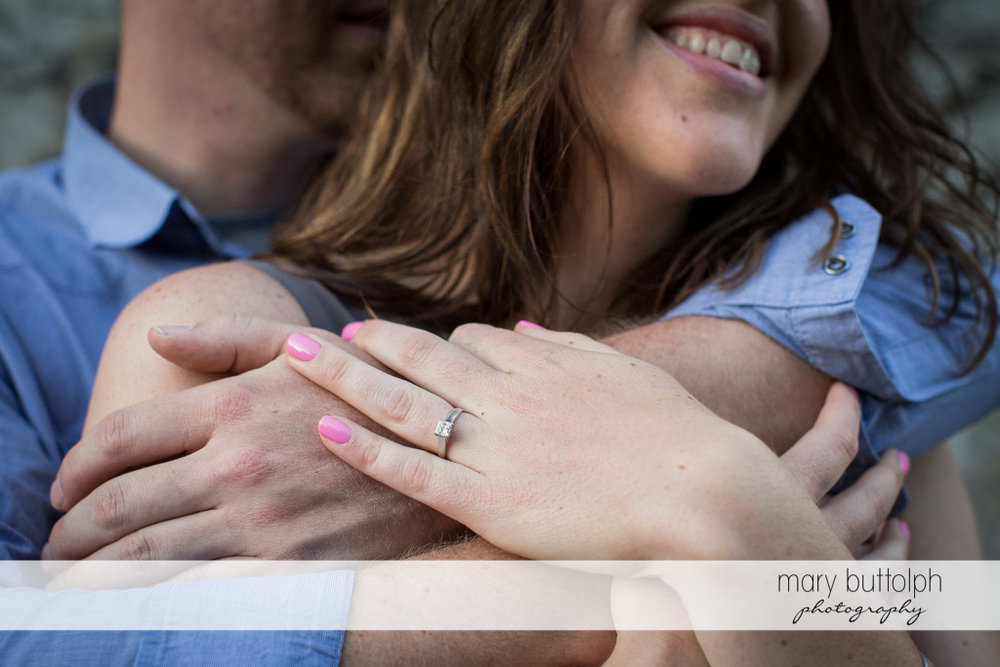 Couple's hands show their love at Franklin Square Engagement