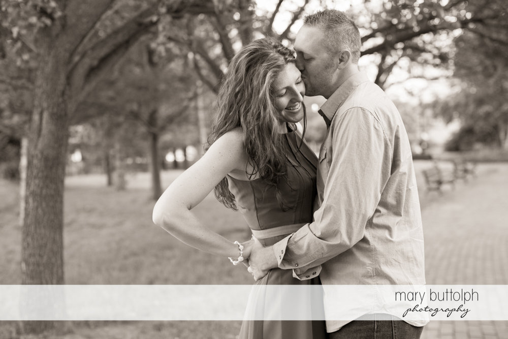 Couple in a great black and white shot in the garden at Franklin Square Engagement