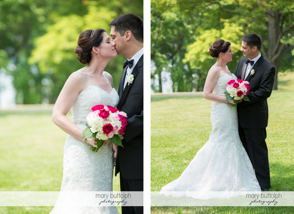 Two shots of the romantic couple in the garden at the Inns of Aurora Wedding