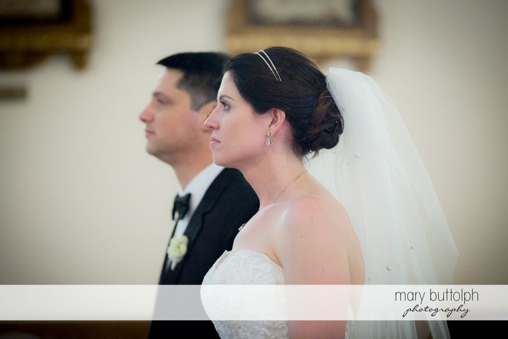 Side view of the couple at the Inns of Aurora Wedding