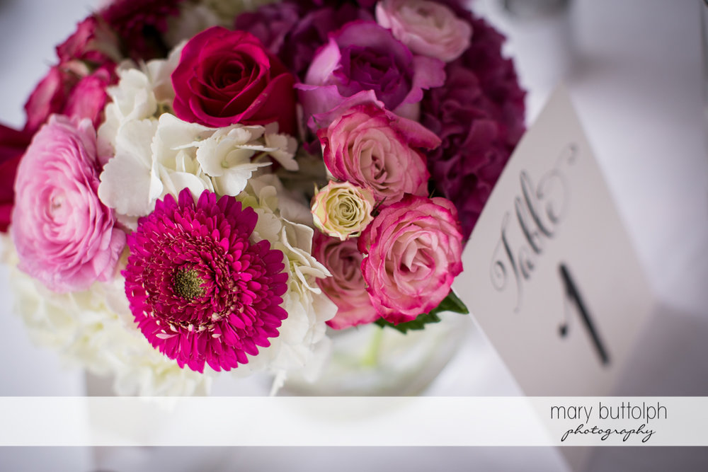 Close up shot of the beautiful bouquet at the Inns of Aurora Wedding