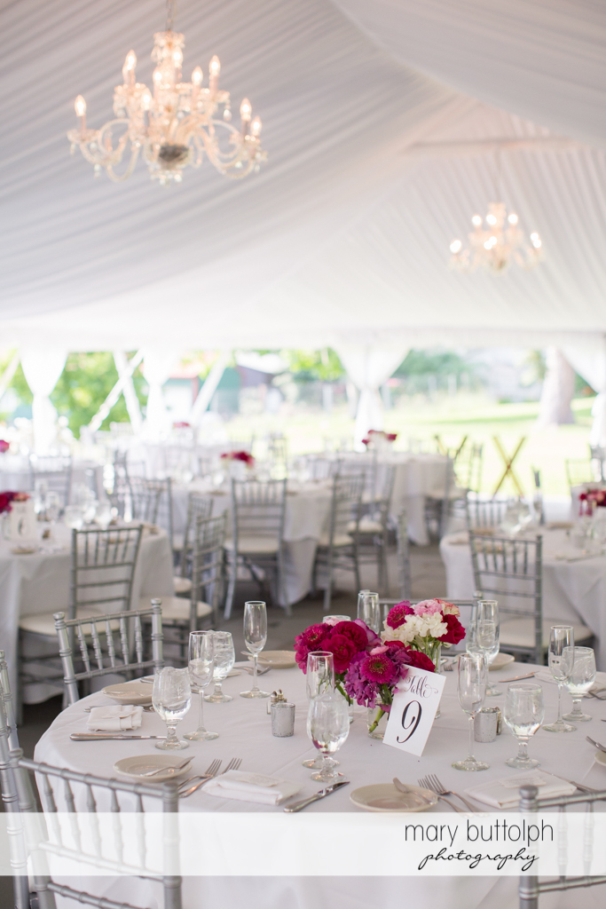 The wedding tent awaits guests at the Inns of Aurora Wedding