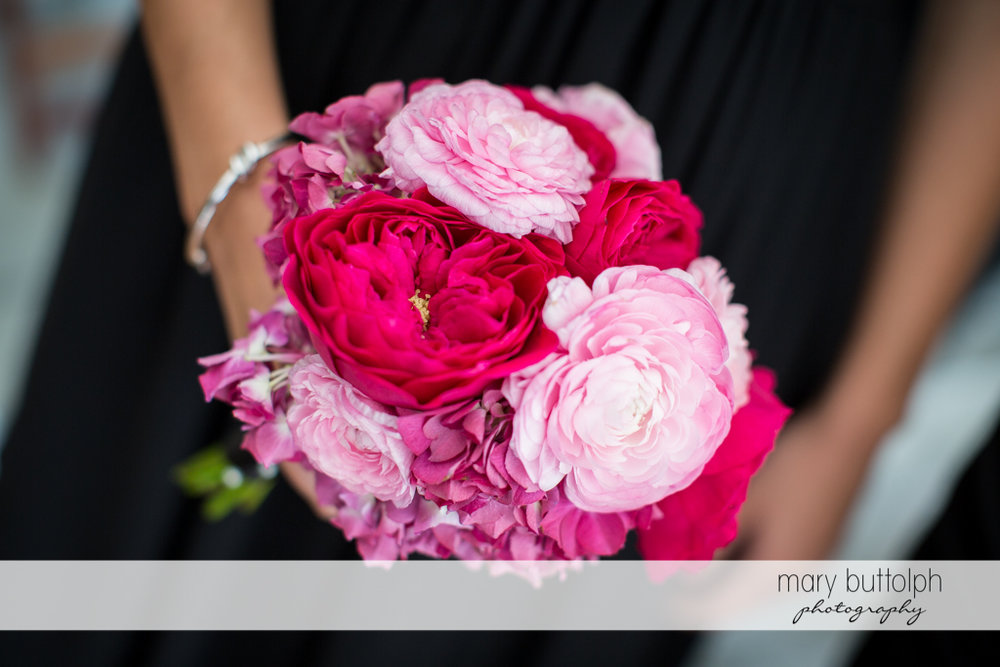 Close up shot of the bridesmaid's bouquet at the Inns of Aurora Wedding