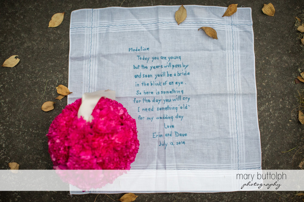Personalized handkerchief at the Inns of Aurora Wedding
