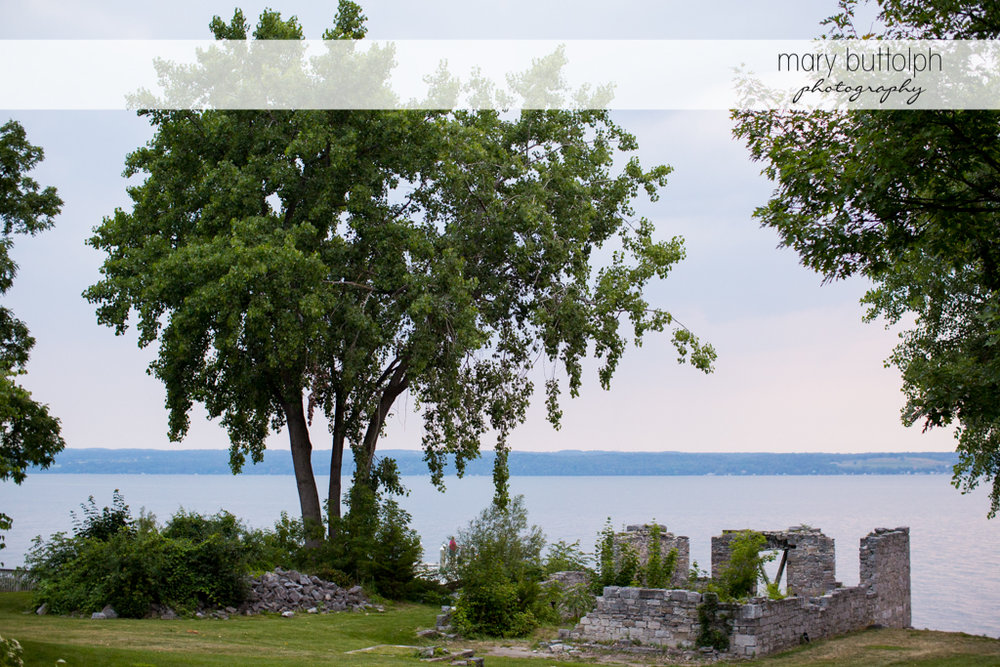 The ruins by the lake at the Inns of Aurora Wedding