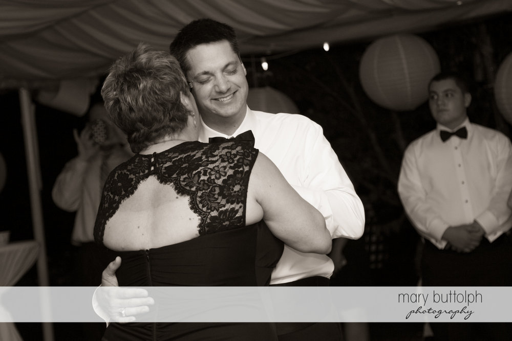 Groom dances with his mother at the Inns of Aurora Wedding
