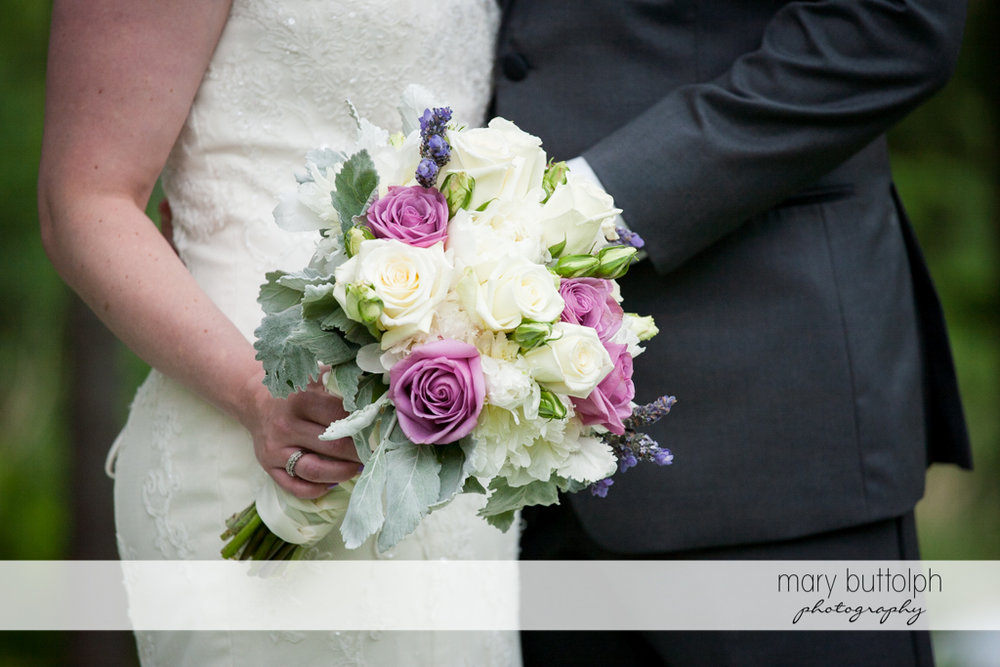 Close up shot of the bride's bouquet at the Mirbeau Inn & Spa Wedding
